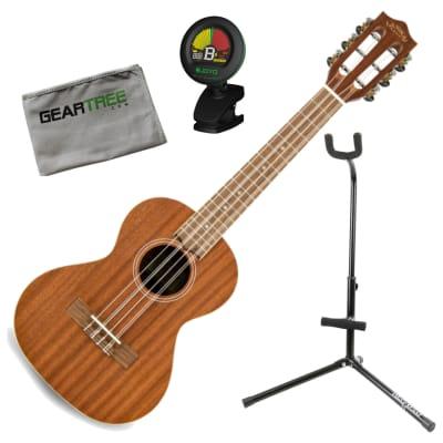 Lanikai MA-6T Mahogany 6 String Tenor Acoustic Ukulele Bundle w/Stand, Tuner, and Cloth
