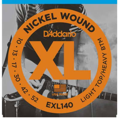 D'Addario EXL140 Nickel Wound Guitar Strings, Light Top/Heavy Bottom, 10-52