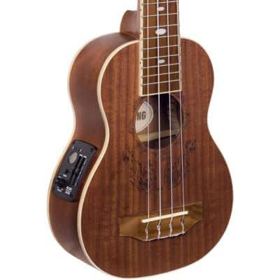 Lindo Little Feeling Soprano Electro Acoustic Sapele Ukulele and Padded Gig Bag -Flame Engraved Top for sale