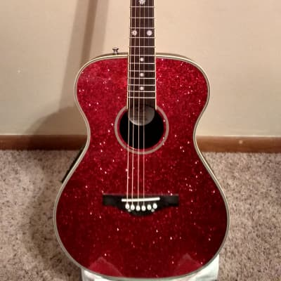 Daisy Rock Pixie red sparkle acoustic-electric with gig bag 2018 Red sparkle for sale