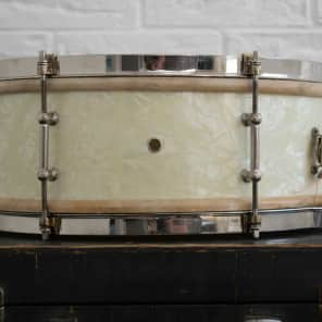 Vintage 1920s 1930s Ludwig 14x5 Universal Snare Drum White Avalon Marine Pearl