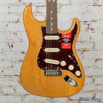 Fender Limited Edition Lite Ash American Professional Stratocaster Electric Guitar Natural 2385 for sale