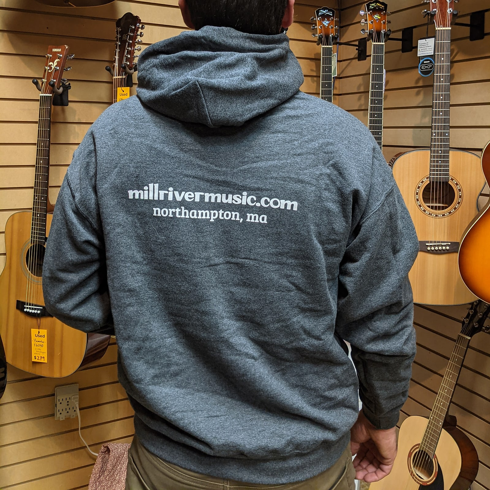Mill River Music Pullover Hoodie 1st Edition Main Logo Unisex Ch Heather Large