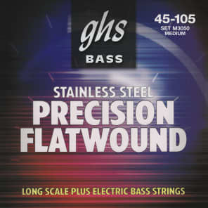 GHS Precision Flatwound Long Scale Plus Medium Electric Bass Strings 45-105