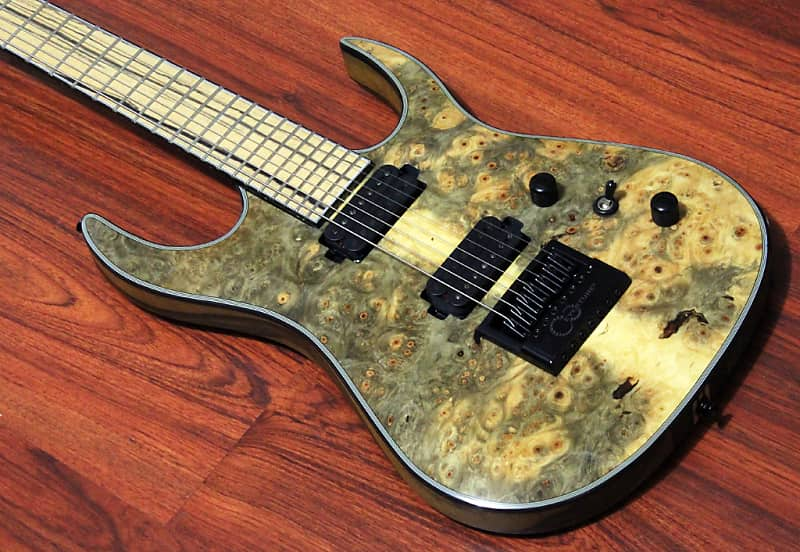 Halo Custom Guitars Merus 7 String Seymour Duncan Sentient Nazgul Evertune  Bridge Buckeye Burl
