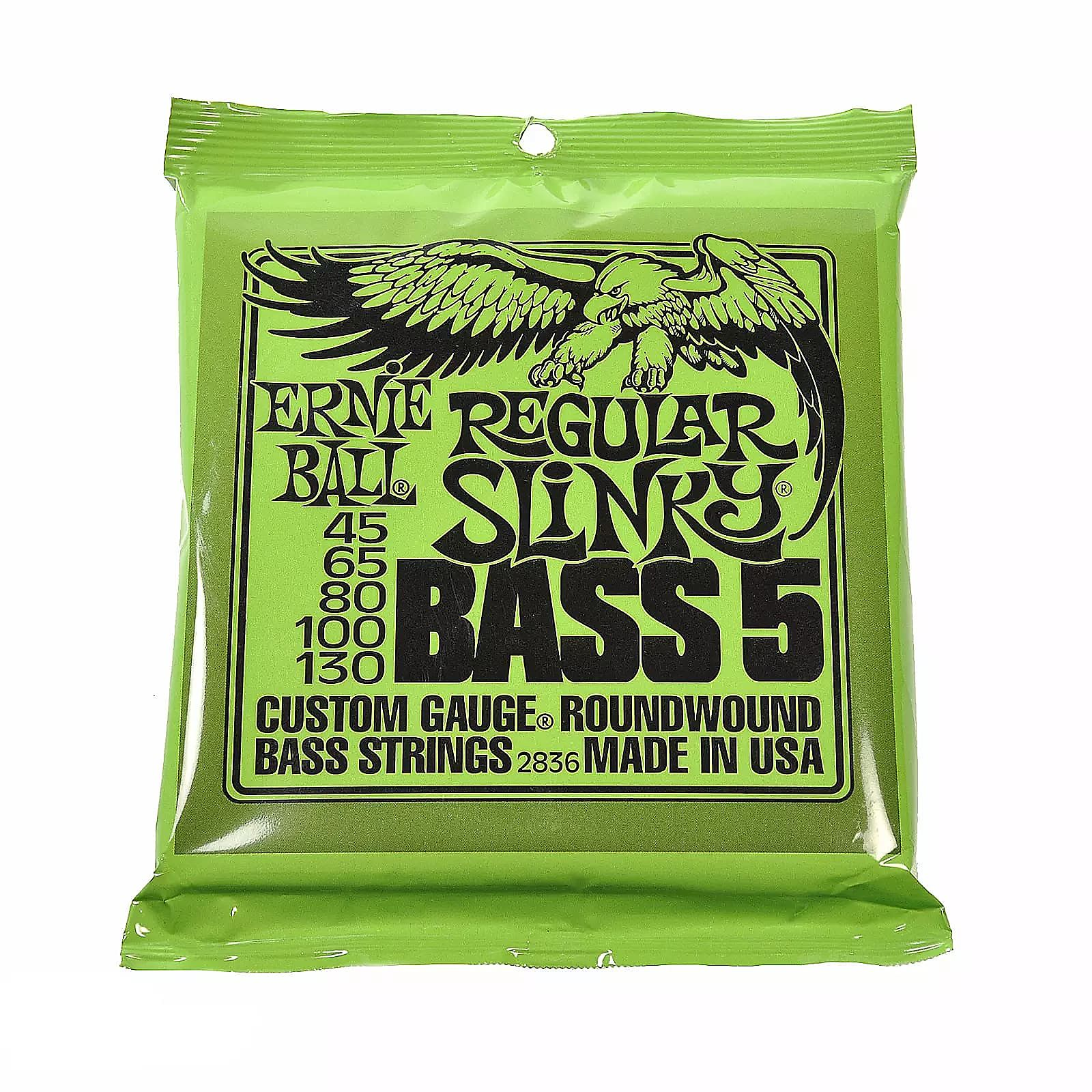 Ernie Ball 2836 Regular Slinky 5-STRING BASS Nickel Wound Strings Gauge 45-130