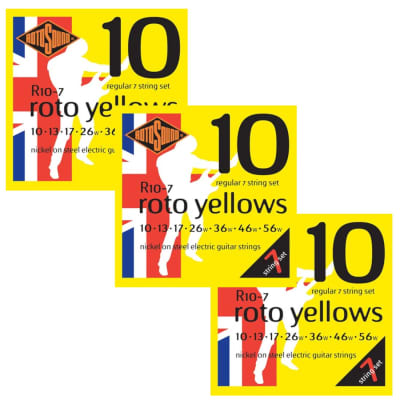 Rotosound Guitar Strings 3-Pack 7-String Electric Roto Yellows 10-56