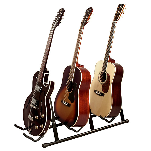 multiple 3 guitar bass acoustic folding stage stand reverb. Black Bedroom Furniture Sets. Home Design Ideas