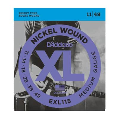 D'Addario EXL115 Nickel Electric Strings, Medium/Blues-Jazz Rock, 11-49