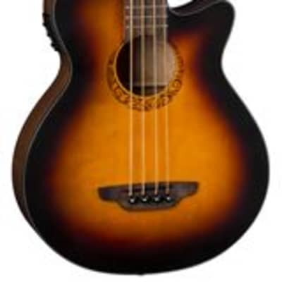 Luna Tribal 34 Inch Scale Acoustic Electric Bass Guitar Tobacco Sunburst for sale