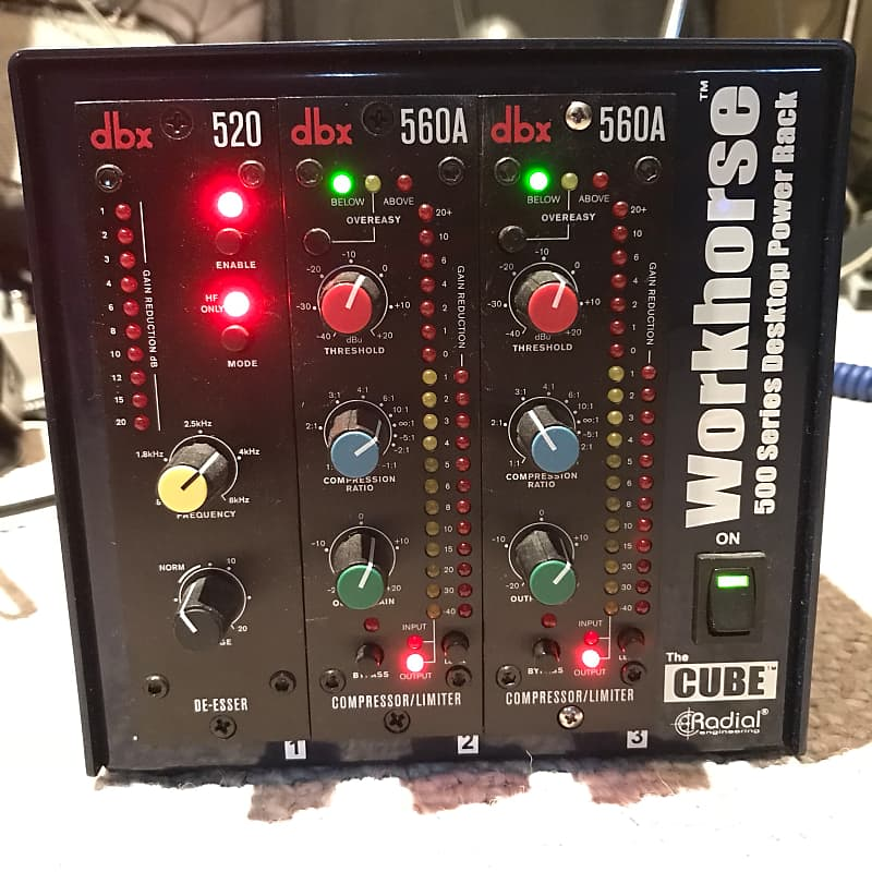 Radial Workhorse filed with 2 dbx 560 compressors and one dbx 520 de-esser