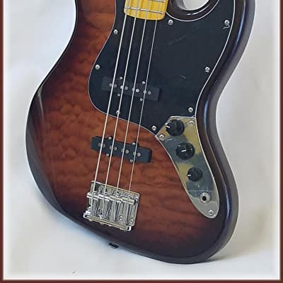 Jazz bass with quilt maple top ( Rosewood OR Maple FB ) by Dillion for sale