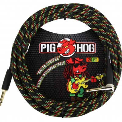 """Pig Hog """"Rasta Stripes"""" Instrument Cable, 20ft Right Angle w/ FREE SAME DAY SHIPPING"""