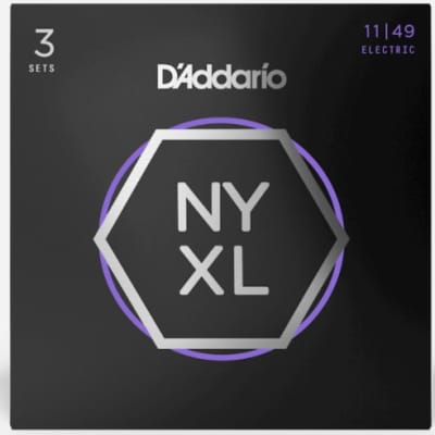 D'Addario NYXL1052-3P Nickel Wound Electric Guitar Strings, Light Top / Heavy Bottom, 10-52, 3 Pack