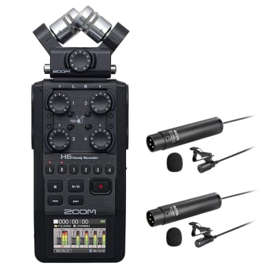 Zoom H6 All Black 6-Track / 6-Input Portable Recorder with Single Mic Capsule, Boya Omnidirectional & Cardioid XLR Lavalier Mic Bundle