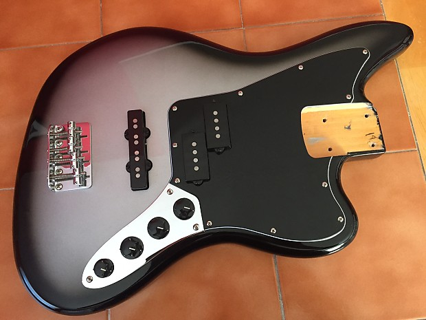squier troy sanders jaguar bass body in silverburst | reverb