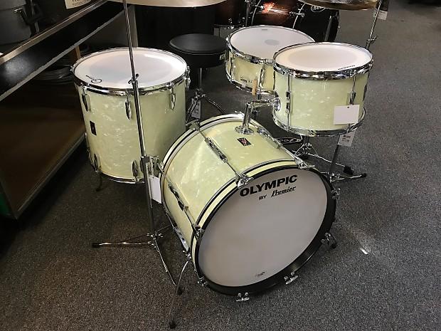 vintage 70s premier olympic drum set in white marine reverb. Black Bedroom Furniture Sets. Home Design Ideas