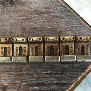 Real Life Relics/ fender Fender strat steel bridge saddles  Aged Nickel 0992051000