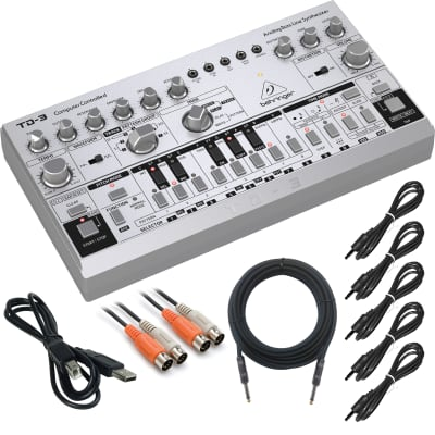 Behringer TD-3-SR Analog Bass Line Synthesizer - Silver - Complete Cable Kit