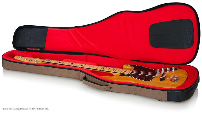 tan gator bass guitar case for fender quilt top jazz bass 24 reverb. Black Bedroom Furniture Sets. Home Design Ideas