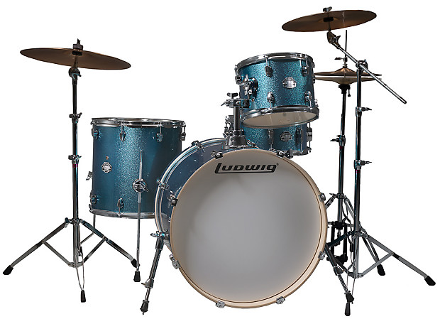 Ludwig LCF42R 4 Piece Element Birch Icon Drum Kit Blue Sparkle With Hardware Cymbals