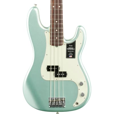 Fender American Pro II Precision Electric Bass, Rosewood Fingerboard (with Case), Mystic Surf Green