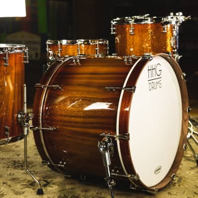 HHG Drums Walnut Heritage Series Kit, Burnt Sienna Gloss