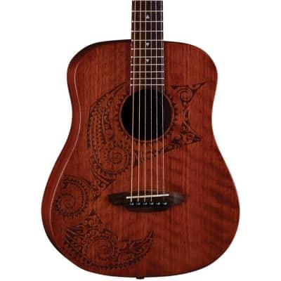 Luna Guitars Safari Tattoo 3/4 Size Travel Guitar Regular Satin Mahogany