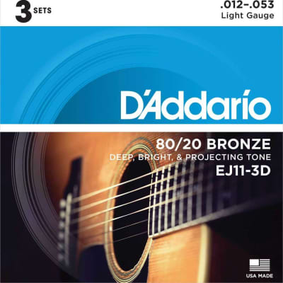 D'Addario EJ11-3D 80/20 Bronze Acoustic Guitar Strings Light 3 Sets