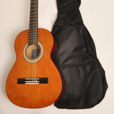Left Handed BEGINNER CLASSICAL ACOUSTIC GUITAR 3/4 SIZE (36 INCH) W/ BAG OMEGA CLASS KIT 3/4 NA LH for sale