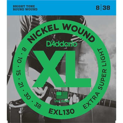 D'Addario EXL130 Nickel Wound Electric Guitar Strings - Extra-Super Light 8-38