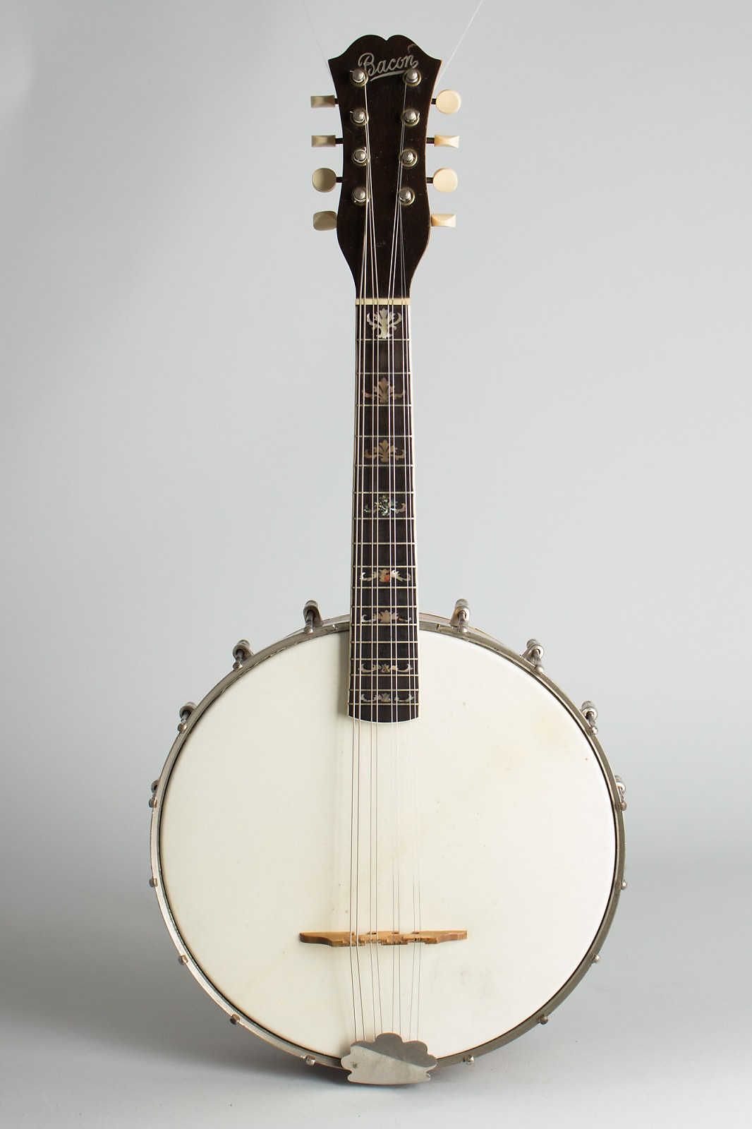 Bacon  Orchestra Style B Mandolin Banjo,  c. 1917, original black hard shell case.