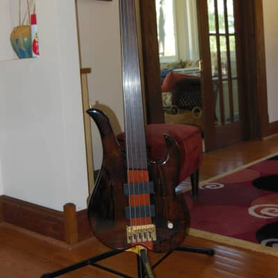 Linc Luthier Brazilian Rosewood 5 string bass for sale
