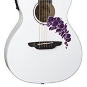 Luna FLO OR CWH Flora Orchid Acoustic/Electric Guitar, Classic White for sale