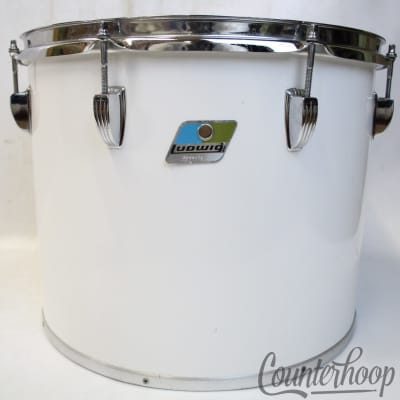 "Ludwig 15x12""Concert/Tenor Tom Drum White Cortex Wrap Vintage 70s Blue/Olive B/O"