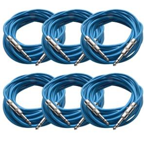 """Seismic Audio SATRX-25BLUE6 1/4"""" TRS Patch Cables - 25' (6-Pack)"""