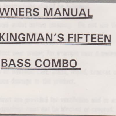 SWR Workingmans's Owner's Manual for Fifteen Bass combo  1999? grey