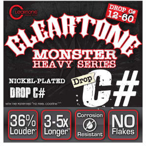 Cleartone 9460 Nickel Plated Drop C# Electric Guitar Strings - Monster Heavy (12-60)