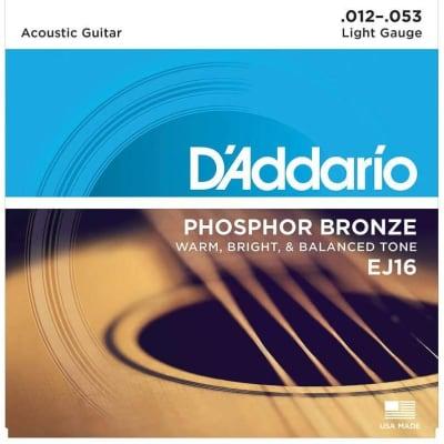 D'Addario EJ16 Phosphor Bronze Acoustic Guitar Strings: 12-53 (Light)