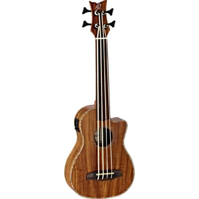 Ortega Guitars Caiman-FL-GB Lizard Series A/E Fretless Ukebass in Gloss Natural Acacia Finish for sale
