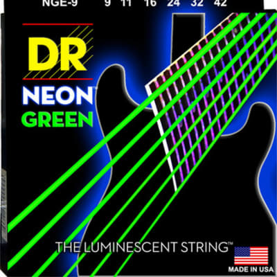 DR NGE-9 Hi-Def Neon Green Coated Electric Guitar Strings 9-42 Neon Green