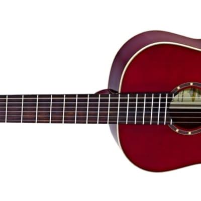 Ortega Family Series Gloss Slim Neck Leftie Red Acoustic Guitar Spruce for sale