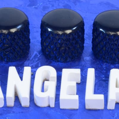 """Three Black Plated Vintage Tele Style Knobs Super Heavy Knurling For 1/4"""" Solid Shaft Pots"""
