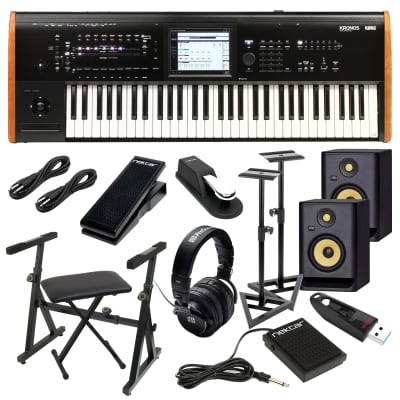 Korg Kronos 2 61-key Synthesizer (2) KRK RP5G4 Monitor, Monitor Stands, Plixio Keyboard Stand, Bench
