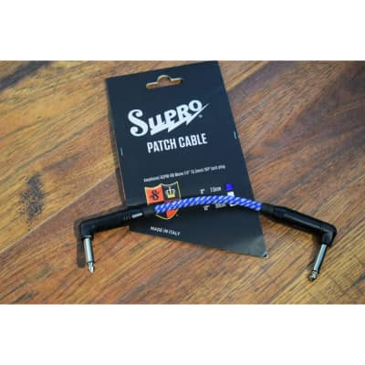 """Supro USA PC-3 3"""" Guitar Bass Instrument Pedalboard Right Angle Patch Cable Blue"""