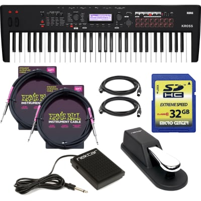 Korg KROSS 2 61-Key Synthesizer Workstation (Super Matte Black), Sustain Pedal, Nektar NP1, (2) ErnieBall 1/4 Cables, (2) Midi Cables, SD Card 32GB Bundle