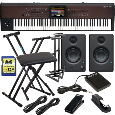 Korg KRONOS 88 LS Music Workstation, Presonus Eris3.5 Monitors, Monitor Stands, Keyboard Stand, Bench, Sustain Pedal, Nektar NX-P, Nektar NP1, (2) 1/4 Cables, SD Card 32GB Bundle