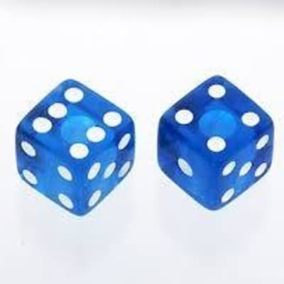 AllParts Pearl Transparent Blue Dice Knobs - 2 Pack - Universal for Guitar and Bass PK-3250-068 for sale
