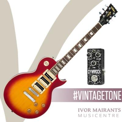 Vintage V100 3 Pickup Electric Guitar Cherry Sunburst & Xvive Dynarock Pedal for sale