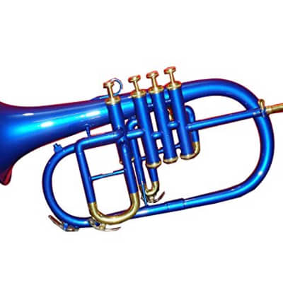 sai musicals India Bb low pitch brass musical instrument FLUGEL HORN brass made for INTERMEDIATE student 2020 blue